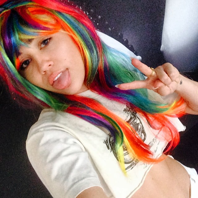 Miley Cyrus wore a rainbow wig, which is just one of the things she does when she's bored. Source: Instagram user mileycyrus