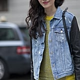 A denim jacket with leather sleeves makes the perfect Fall companion.