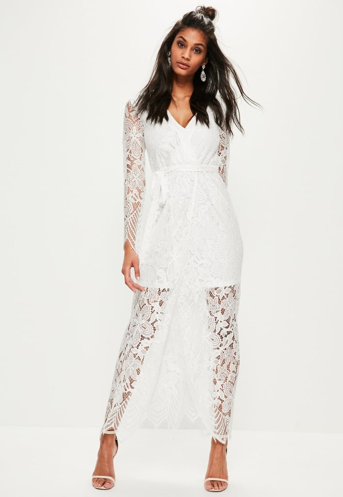 Missguided White Lace Wrap Tie Front Maxi Dress