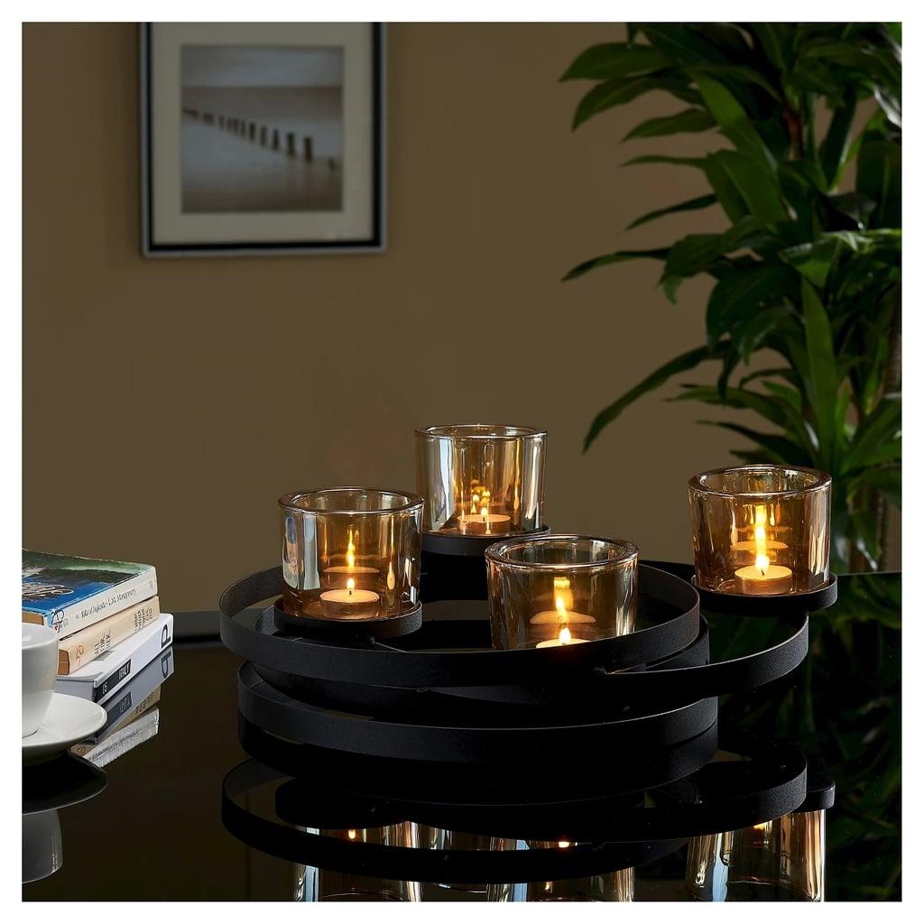 Circles Metal Centerpiece with Iridescent Glass Cups Black