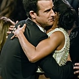 Justin Theroux hugged his The Leftovers costar Regina King at the Critics' Choice Awards in January 2016.