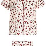 HVN Cherry-Print Silk Pyjama Set