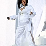 Performing at Coachella in a sexy all-white outfit.