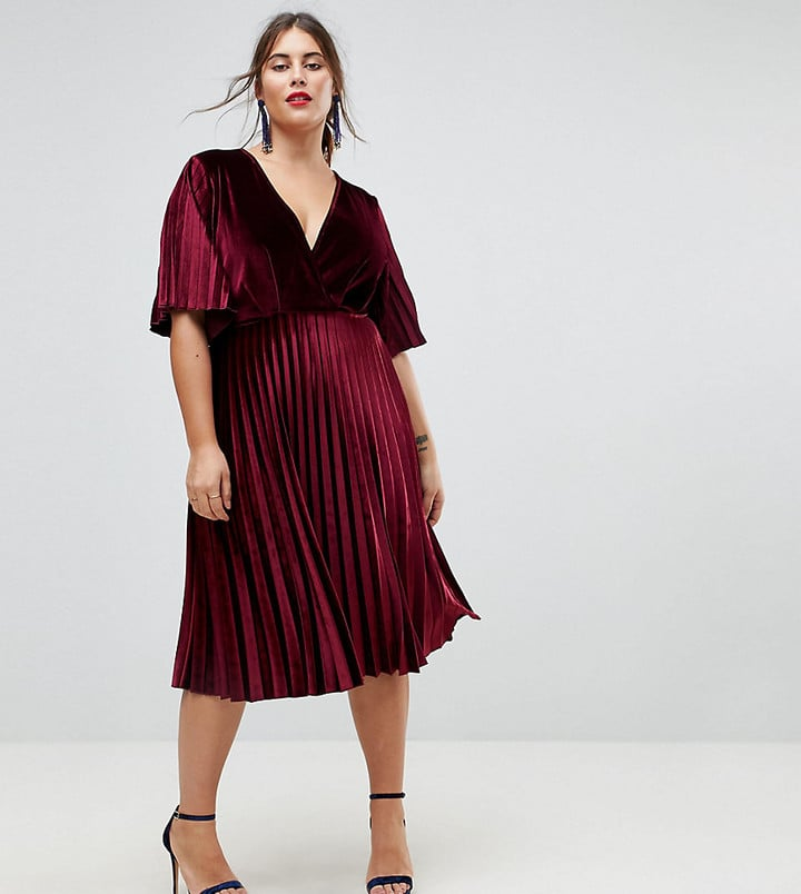 Asos Pleated Velvet Kimono Midi Dress