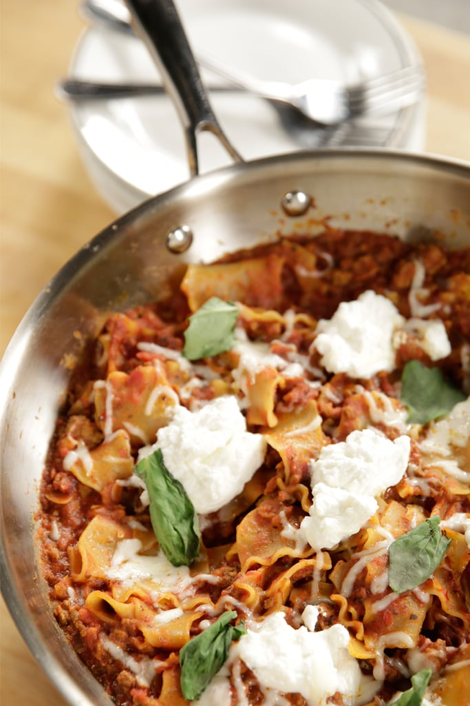 Cook no-boil lasagna in meat sauce over the stovetop for a one-pan skillet meal.
