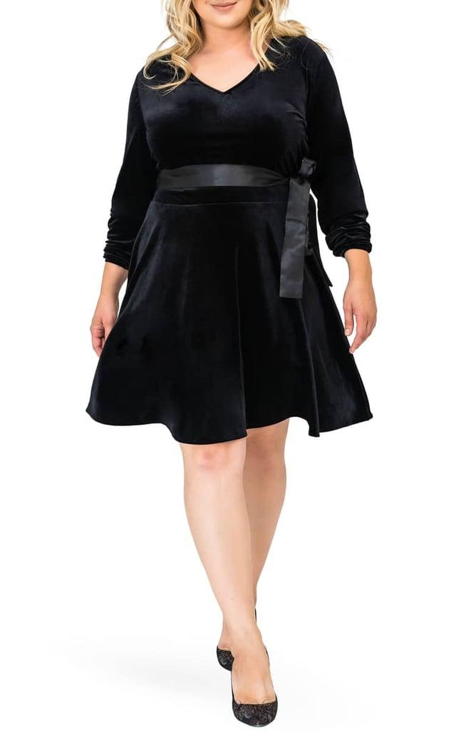f3c834de0ae Standards   Practices Millie V-Neck Stretch Velvet Fit   Flare Dress ...