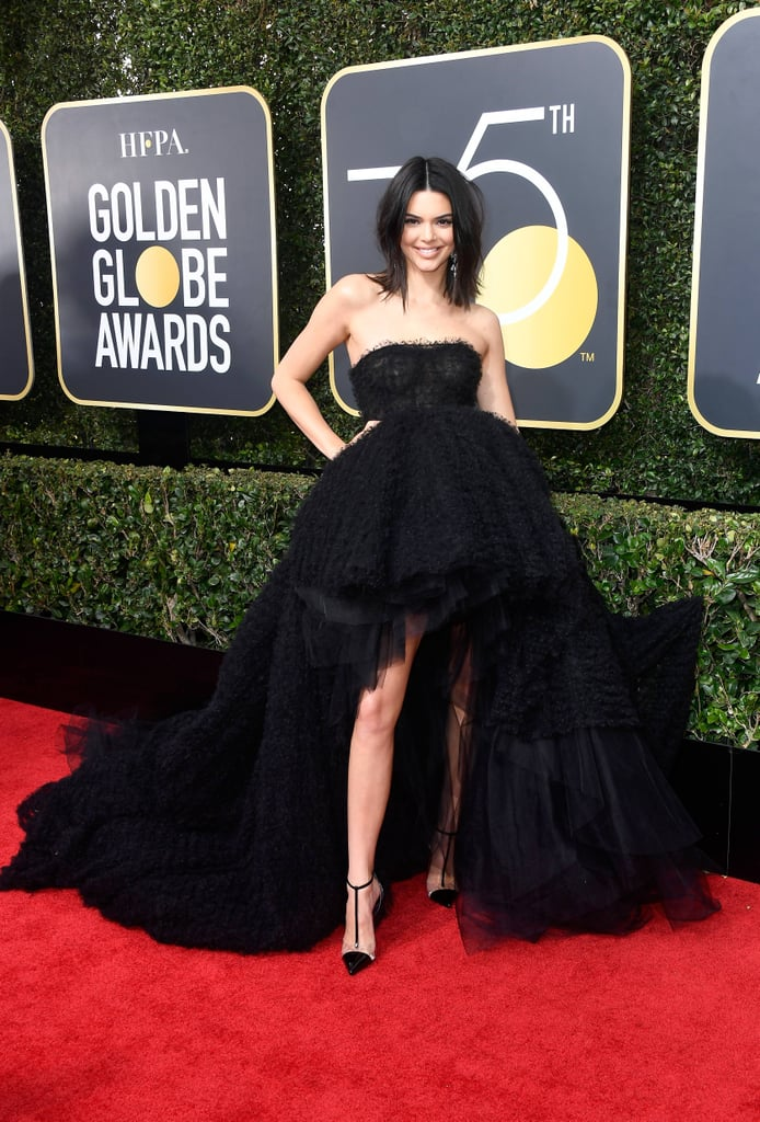 Kendall Jenner Wearing Black Dress At 2018 Golden Globes Popsugar