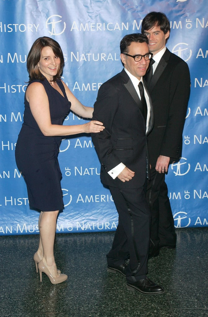 Tina Fey played with Bill Hader and Fred Armisen at the Museum of Natural History gala.