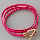 A neon pink leather wrap will amp up the cool factor of your wrist candy. Gorjana Graham Leather Studded Wrap ($49)