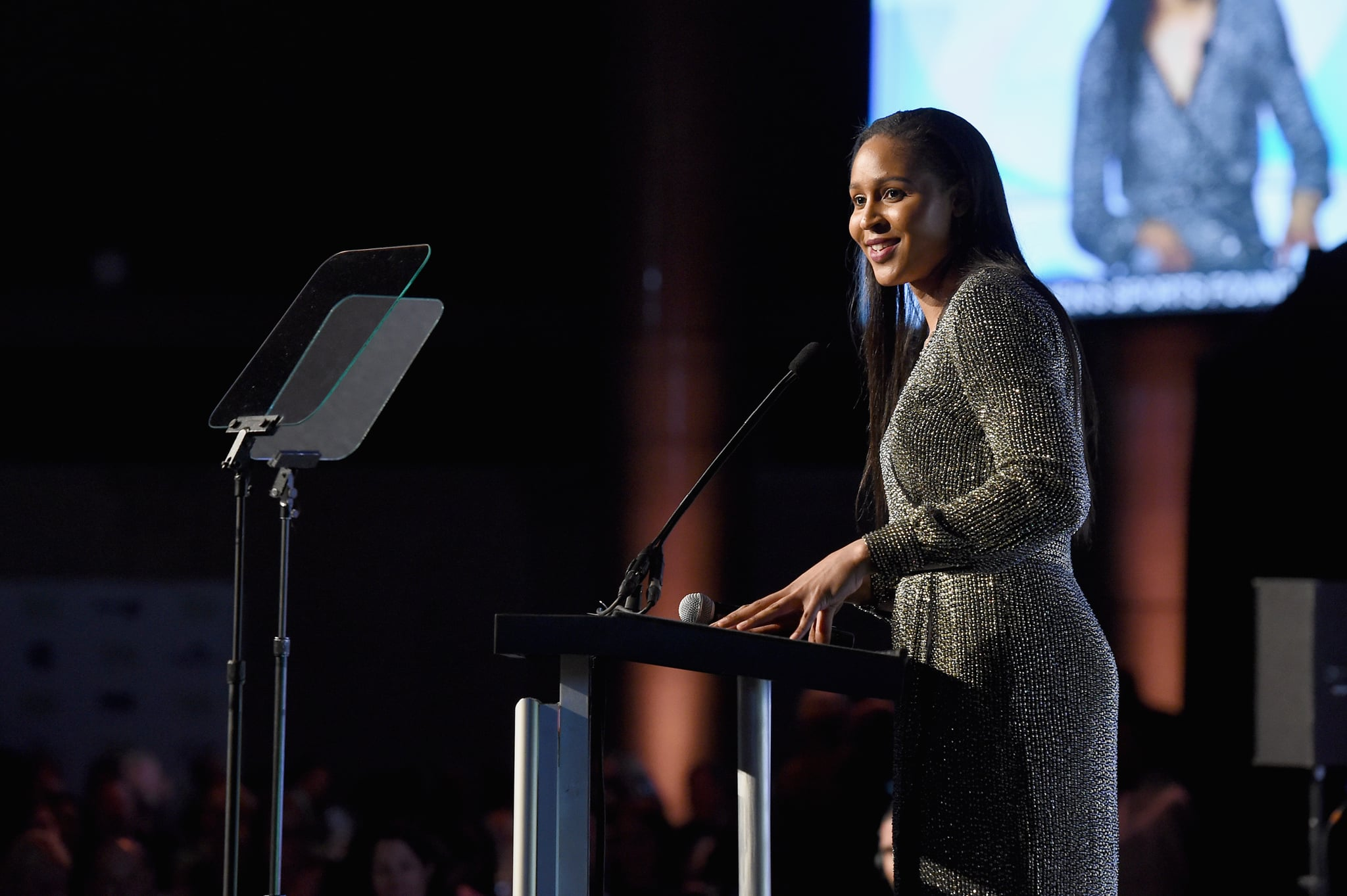 NEW YORK, NY - OCTOBER 18:  Winner of the Sportswoman of the Year in a team sport, Maya Moore, receives her award onstage at The Women's Sports Foundation's 38th Annual Salute To Women in Sports Awards Gala on October 18, 2017 in New York City.  (Photo by Nicholas Hunt/Getty Images for Women's Sports Foundation)