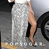 Kim Kardashian Snakeskin Skirt With Sisters Out to Dinner