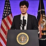 John Schlossberg, the grandson of late US President John F. Kennedy, introduced Obama during the dinner.