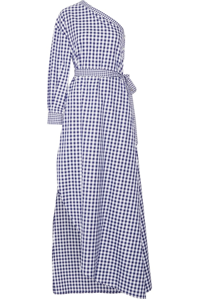 Rosetta Getty One-Shoulder Gingham Cotton Wrap Gown