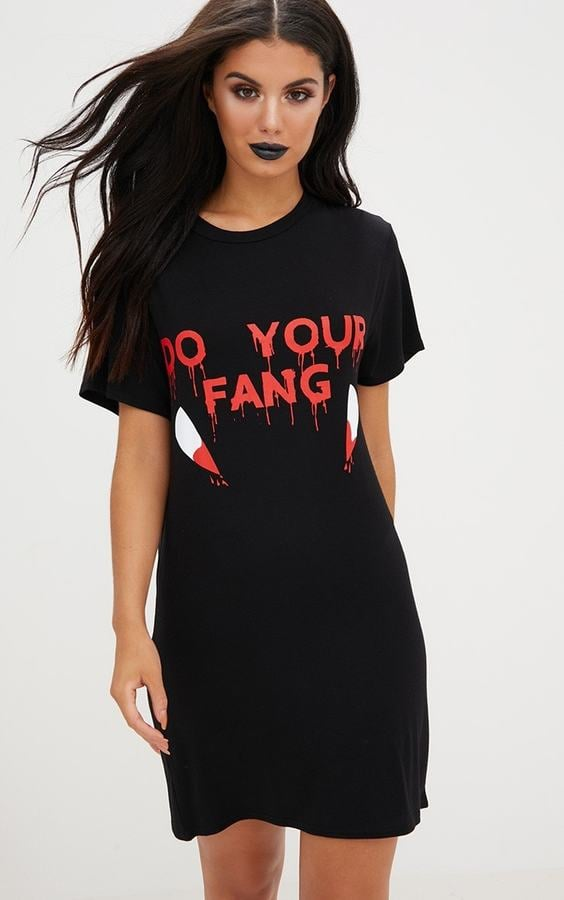 471fa73707e4c PrettyLittleThing Black Jersey 'Do Your Fang' T Shirt Dress | Easy ...