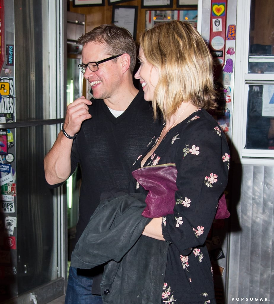 Matt Damon reunited with his Adjustment Bureau costar Emily Blunt on Sunday night for a triple date at La Esquina in NYC. Matt and Emily were joined by their other halves, Luciana Damon and John Krasinski, respectively, as well as Chelsea Clinton and her husband, Marc Mezvinsky. The group was spotted leaving the restaurant after their meal and converging on the sidewalk, where they cracked up while chatting before saying goodbye. Emily's night out comes in between lots of press for her new film, The Girl on the Train. The actress stars opposite Justin Theroux in the thriller and will likely be hitting the red carpet for the film's NYC premiere before it hits theaters on Oct. 7. Chelsea is also in for a big week, as her mom, presidential nominee Hillary Clinton, is set to debate Donald Trump on Monday.