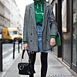 Wear a Pair of Tights Under Your Skirt and Style It With a Hoodie
