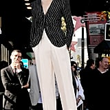 For her Hollywood Walk of Fame honour, Cate ditched the gowns for something menswear inspired in an Armani Privé ensemble, which included a striped jacket and white trousers.