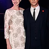Anne Hathaway and Joseph Gordon-Levitt posed at the London The Dark Knight Rises afterparty.