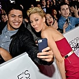 Desi Lydic gave a funny face for a fan.