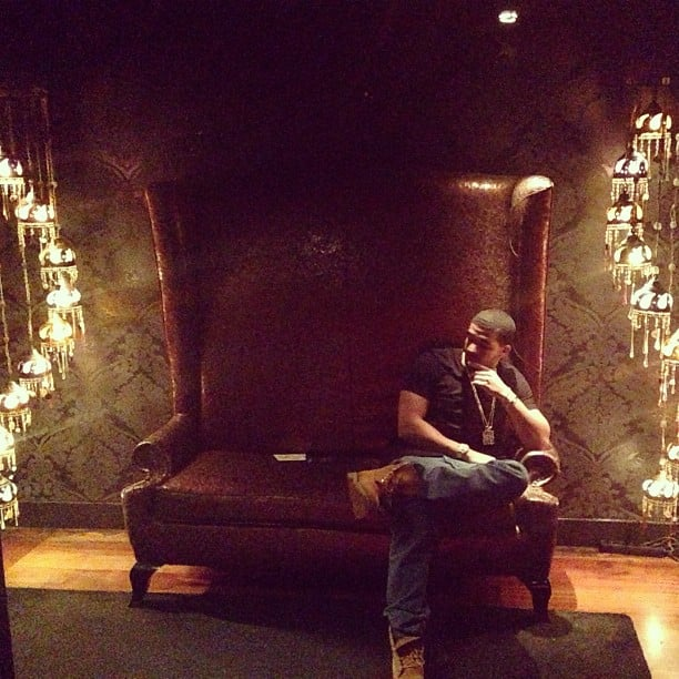 Drake lounged in a giant throne during a night out in Barcelona. Source: Instagram user champagnepapi