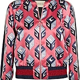 Gucci Printed Duchesse-Silk Bomber Jacket — Pink