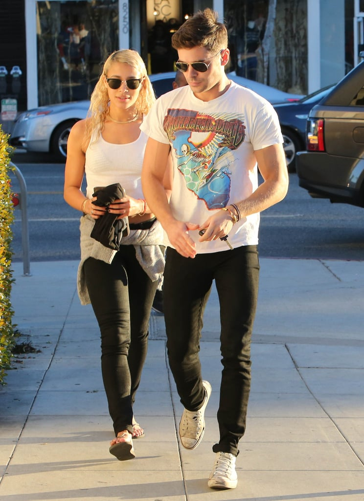 Zac Efron and his new girlfriend, Sami Miró, met up in LA wearing similar ensembles on Wednesday. The couple was first spotted together in September, following Zac's Summer fling with Michelle Rodriguez. Zac and Sami have made multiple outings since, including to a friend's wedding in Chicago and a star-studded Halloween party last month, which was also attended by Zac's ex Michelle. The new duo may have another opportunity to take their romance public at the People's Choice Awards in January, since Zac's movie Neighbors was one of the 2015 People's Choice Awards nominees.