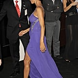 Halle Berry's baby bump was visible under her purple gown.