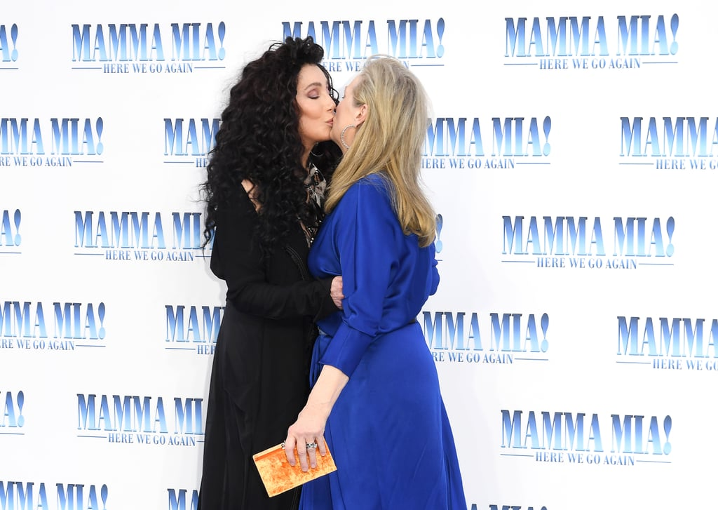 The Mamma Mia! Here We Go Again premiere was an utter lovefest. On July 16, the cast gathered at the Hammersmith Apollo in London to celebrate the fun musical movie and, much to everyone's surprise, Meryl Streep even made an appearance. The actress hasn't done much press for the sequel because her character's presence has been left intentionally vague prior to the movie's release. In addition to her unexpected attendance, the 69-year-old actress shared an instantly iconic red carpet smooch with Cher, who portrays her mother in Mamma Mia! Here We Go Again. (Yes, even though Cher is a mere three years older in real life.) The two stars previously worked together in the 1983 drama Silkwood, for which both Meryl and Cher received Academy Award and Golden Globe nominations. See pictures of their incredible red carpet chemistry, which quickly sent the internet into a tizzy.      Related:                                                                                                           Tom Hanks and Rita Wilson Pop Up at the Mamma Mia 2 Premiere Looking Like Cool Kids