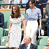 Even in the more casual setting of Wimbledon, Meghan arrived behind Kate.