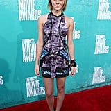 Emma Stone chose a printed look for the 2012 MTV Movie Awards.