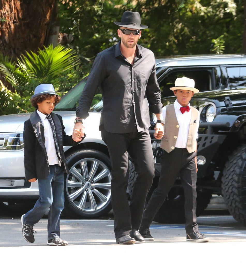 Martin Kristen matched with his girlfriend Heidi Klum's sons, Henry and Johan, for her birthday celebrations in LA on Saturday.
