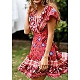 Summer Floral Chiffon Wrap Dress
