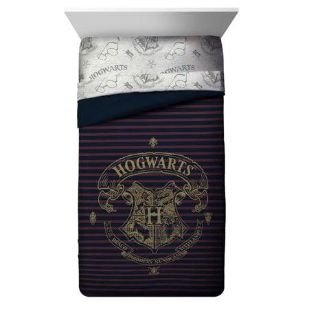 Spellbound Hogwarts Emblem Reversible Twin/Full Comforter With Gold Foil Design