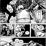 Negan warns everyone that if they move or try to stop the beating in any way, he'll feed Carl's other eye to Sophia (who's alive in the comics and being raised by Glenn and Maggie, FYI).