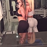 Kim Kardashian and her friend Blac Chyna compared bums after the gym. Source: Instagram user kimkardashian
