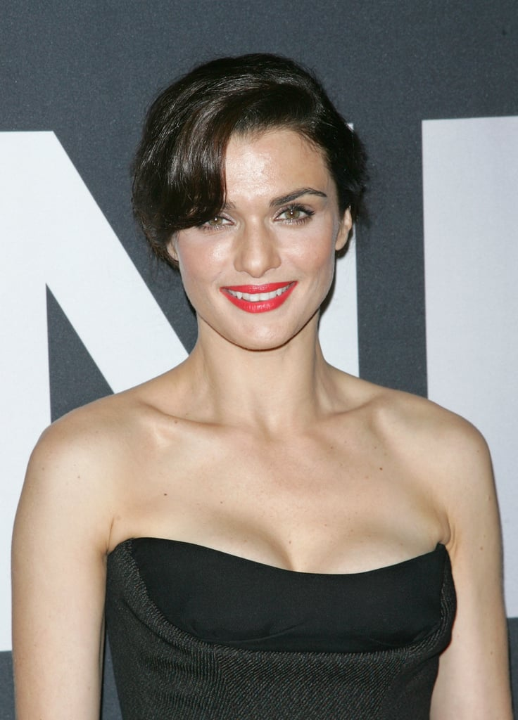 Rachel styled her hair in an elegant updo and finished off with a sultry red lip.