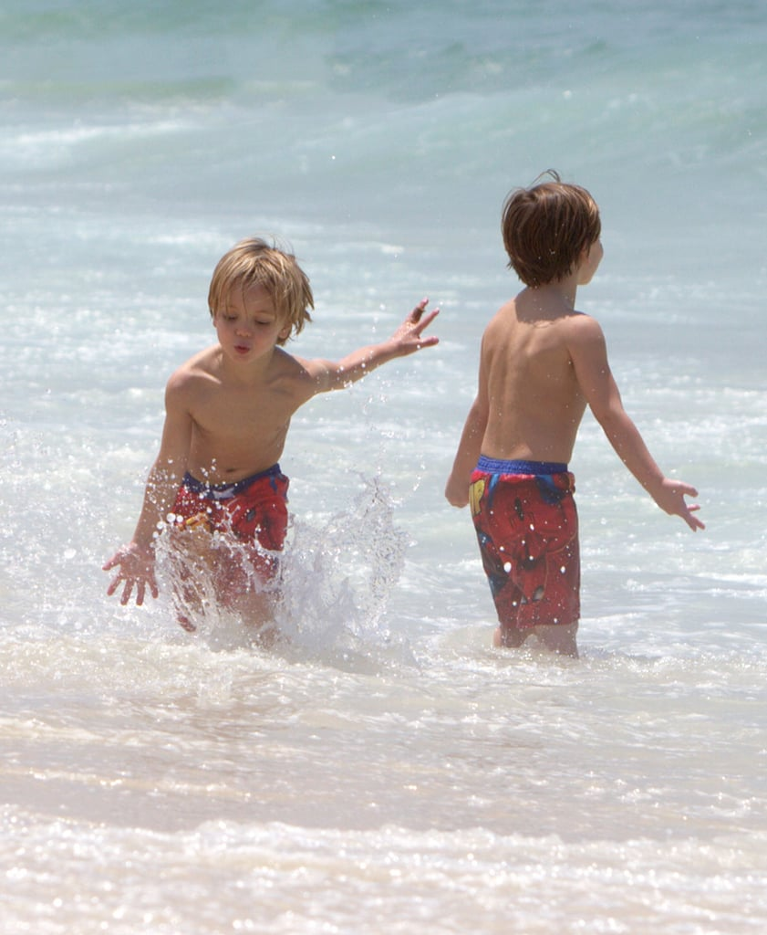 Jayden James Federline and Sean Preston Federline splashed around in the ocean.