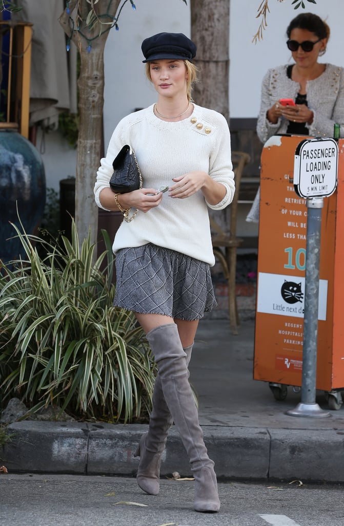 Rosie Huntington-Whiteley nailed over-the-knee boots while meeting up with a friend for lunch in Beverly Hills.