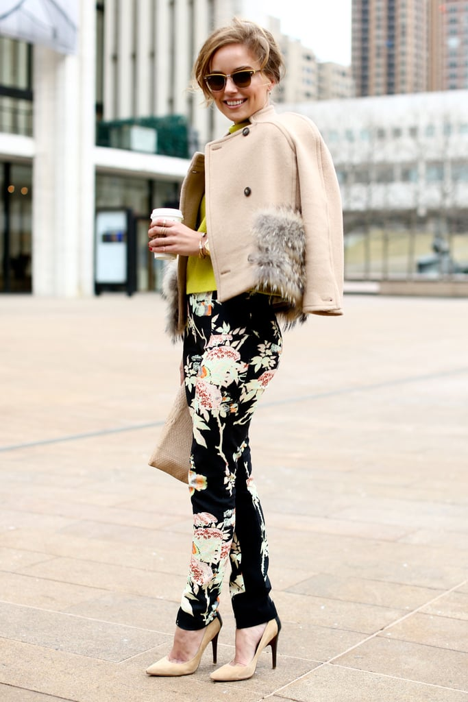 Girlie floral trousers paired perfectly with a chic cropped jacket.