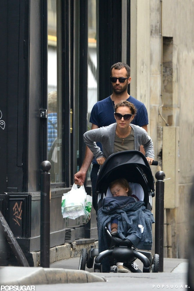 Natalie Portman pushed her son, Aleph, in Paris.