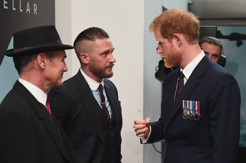 Tom chatted with his costar Mark Rylance and Prince Harry while attending the Dunkirk world premiere at Odeon Leicester Square in July 2017.