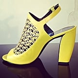 The new heel that had us walking on air at the Pierre Hardy showroom? This thicker, curved number that is meant to be much more walkable.  Source: Instagram user popsugarfashion