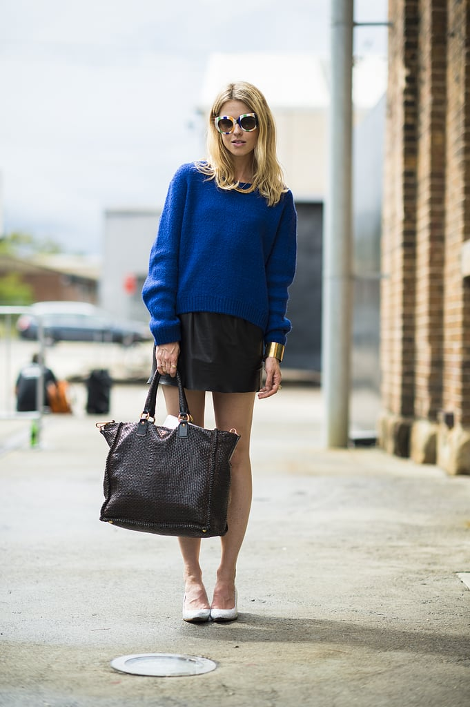 A bold blue sweater was a laid-back contrast to a slick leather mini. Source: Le 21ème | Adam Katz Sinding