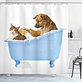 Dog and Cat Bathtub Shower Curtain