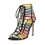 Gianvito Rossi x Mary Katrantzou Rainbow Strappy Suede Caged Sandals ($1,295)