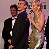 George Clooney and Sharon Stone shared the stage in May 2007 at an auction in Cannes.
