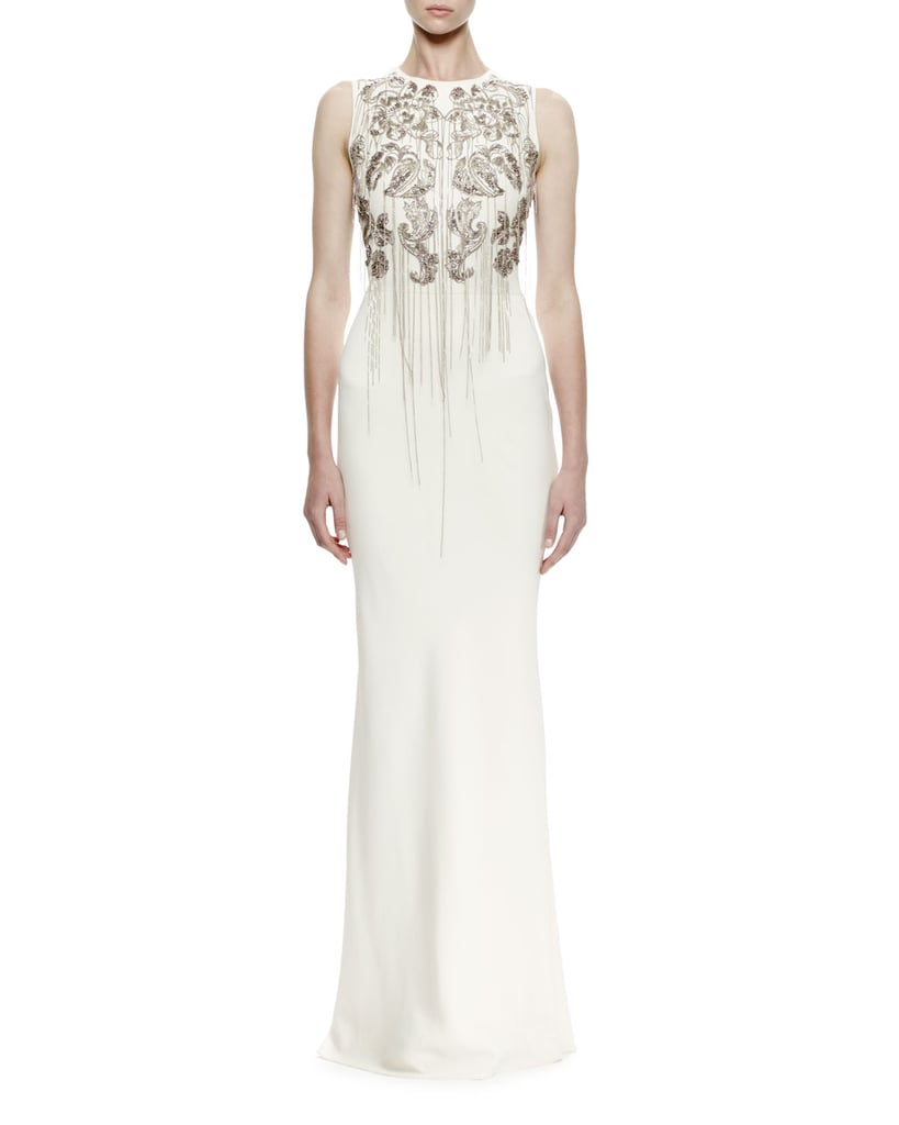 Alexander McQueen Sleeveless Chain-Embroidered Crepe Gown ($8,395)