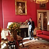 The Red Room was decorated with cranberries, to match the walls.