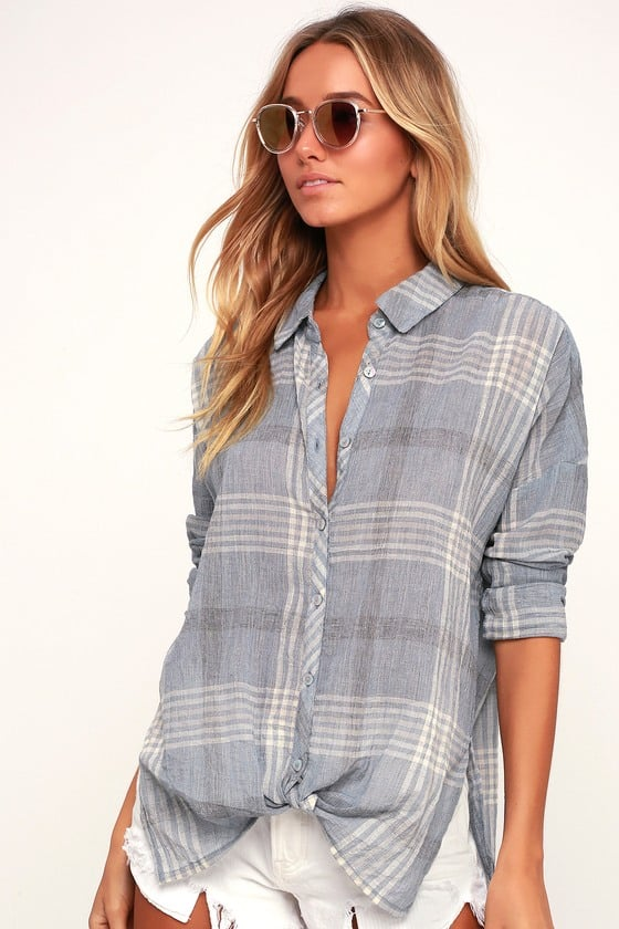 O'Neill Arlow Light Blue Plaid Tie-Front Button-Up Top