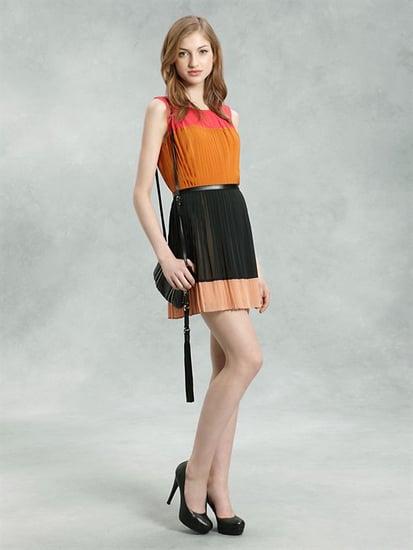 DKNY Sleeveless Pleated Color Blocked Dress $345
